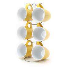 Elite Stone Coffee Mug Set of 6 with Stand - @home by Nilkamal, Yellow