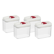 Airtight Acrylic 1200 ml Cannister Set of 4 - @home by Nilkamal, Red