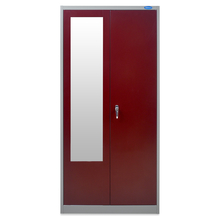 Nilkamal Stephen 2 Door Wardrobe With Locker Grey & Red