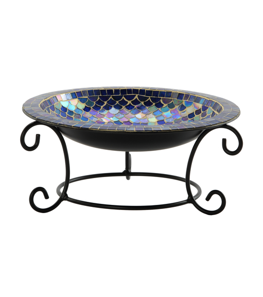 Stylish Glass Bowl With Metal Stand - @home Nilkamal, indigo