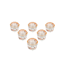 Transparent Glass 125 ml Jar Clip Set of 6, Orange