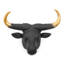Bull Animal Head Showpiece - @home by Nilkamal, Black & Gold