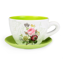 Garden Mini Cup & Saucer Planter - @home by Nilkamal, Green