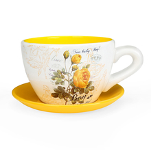 Mini Garden Cup Saucer 9cm Planter - @home by Nilkamal, Yellow