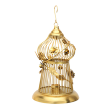 Forest Wine Bird Cage Large Lantern - @home by Nilkamal, Gold