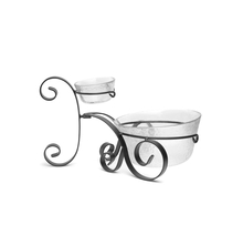 Chip & Dip Set Of 3 with Metal Stand serving Bowl