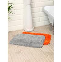 Microfiber 40 cm x 60 cm Set of 2 Bathmat, Orange & Grey