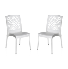 Nilkamal Novella 19 Stainless Steel Chair - Set of 2, Milky White