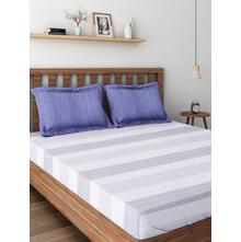 Stripes 250 cm x 274 cm Double Bedsheet, Indigo
