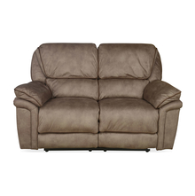 Fuzzy 2 Seater Sofa with 2 Electric Recliner, Mocha Brown