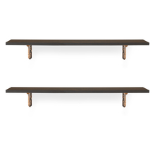 Romantic & Ares Medium Wall Shelf Set of 2 - @home by Nilkamal, Walnut