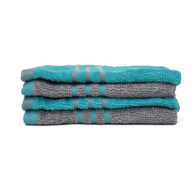 Face Towel 30 X 30 cm Set of 4 - @home by Nilkamal, Sea Green & Grey