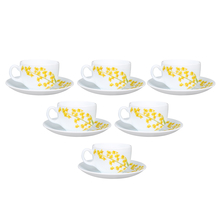 Laopala Yellow Grace 160 ml Cup & Saucer Set of 6, Multicolor