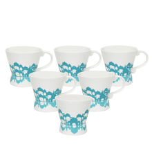 Mughal Moon 180 ml Tea Cup Set of 6 - @home by Nilkamal, Sea Green