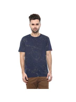 Printed Round Neck T-Shirt, 28,  navy