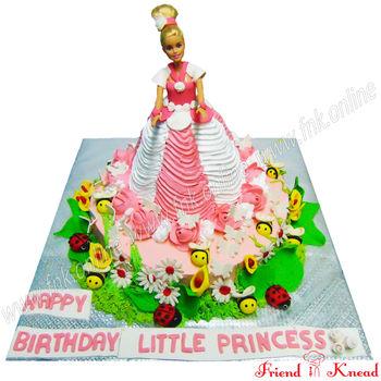 Barbie Theme Cake, 5 kg, egg