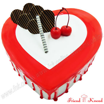 Heart Strawberry Cake, select time, egg, 1 kg