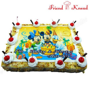 Mickey Mouse Photo Cake, 3 pm - 4 pm, 2 kg, black forest