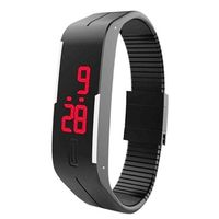 Black Plastic Digital Rectangular Bracelet Band LED Watch ForBoys, Men, Girl, Women