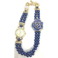 Blue Colour Women's Rose Gold Plated Rhinstone Dial Flower Bead Double Wrap Bracelet Watch