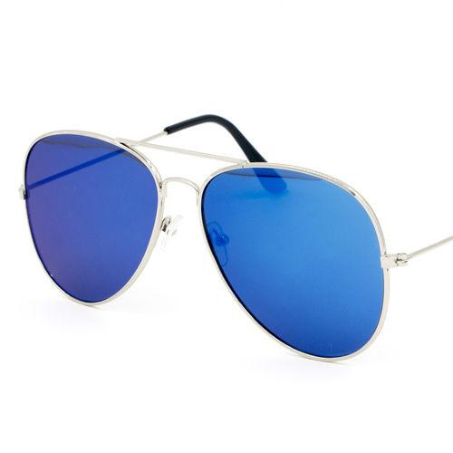 Silver Frame Sky Bluesh Reflector Mirror Flat Aviator Sunglass