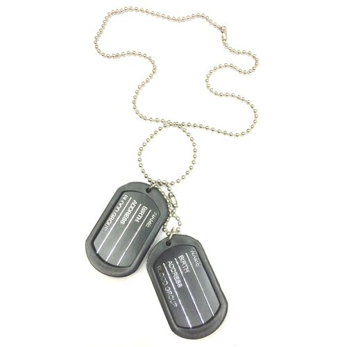 Engraved Army Style With Black Thick Border 2 Dog Tag Pendant For Men
