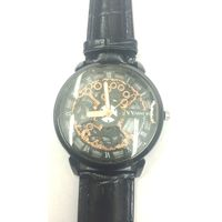Black Leather Skeleton Mechanical Fashion Luxury Black Dial Mens Wrist Watch