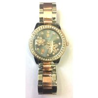 Diamond Studded Designer Silver Copper Theme Ladies Wrist Watch