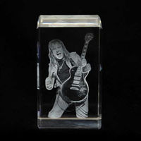 Personalized Photo engraved 2D Crystal Cube Slim