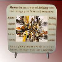 Customized Photo Tile on Wood Desktop - Memories
