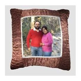 Square Photo Cushion with Pillow Brown Border YashGifts. in