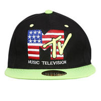 Capskart Snapback Fashion Cap with MTV Embroidery Black / Green