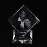 Personalized 3D crystal cut cube with base