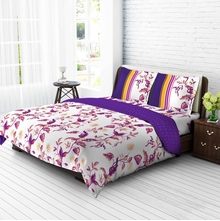 Tangerine Tangy Gold Cotton King Xl Bedsheet with 2 Pillow Covers - Purple