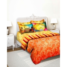 Tangerine Indie Tadka Dilli 100% Cotton Double Bedsheet With 4 Pillow Covers