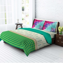 Tangerine Desi Beats Cotton King Xl Bedsheet With 2 Pillow Covers - Multicolor