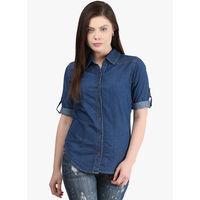 Mayra Solid Shirt,  navy blue, s