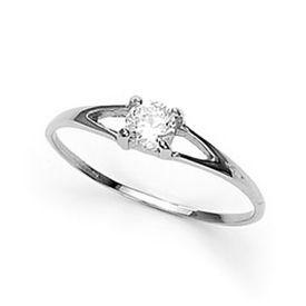 Pretty White CZ Silver Finger Ring-FRL055