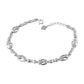 Bow Heart & White Silver Bracelete- BR021