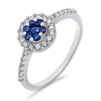Blue & White Diamond Ring - AMR0800A, si - ijk, 12, 14 kt