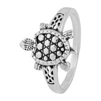 Tortoise Sterling Silver Finger Ring-FRL145, 17