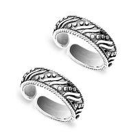 Oxidise Cutwork Sterling Silver Toe Ring-TR451