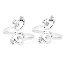 Top Openable Heart Pattern CZ Silver Toe Rings-TR333