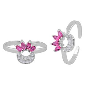 Glittering White & Pink Zircon Sterling Silver Toe Ring-TRMX081