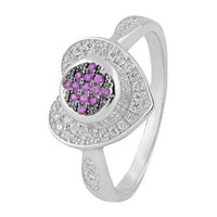 Immortal Heart Design Zircon Silver Finger Ring-FRL125, 18
