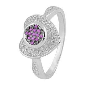 Immortal Heart Design Zircon Silver Finger Ring-FRL125