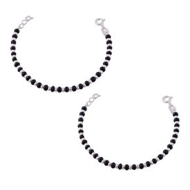 Silver & Black Beads Sterling Silver Kids Nazariya Bracelet-BRNZ008