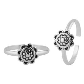 Flowery Silver Toe Ring-TR382
