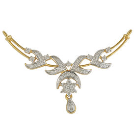 Curved Diamond Mangalsutra- GUTS0115T