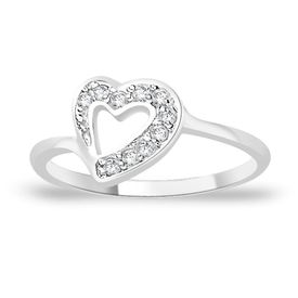 Dazzling Heart White CZ Silver Finger Ring-FRL067